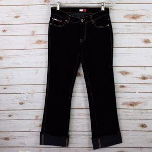 Tommy Girl NWT Velvet Black Cuff Pants Jeans 1